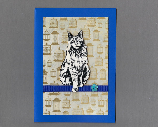 Handmade Fabric Black & White Maine Coon Cat Blank Greeting Card