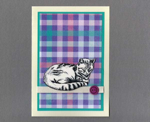Handmade Fabric Black & White Napping Tabby Cat Blank Greeting Card