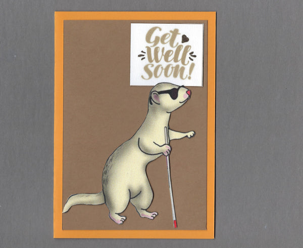 Handmade Fabric Blind Ferret Get Well Soon Blank Greeting Card