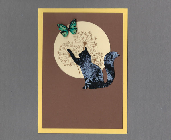 Handmade Custom Fabric Bob the Butterfly Catching Cat Blank Greeting Card