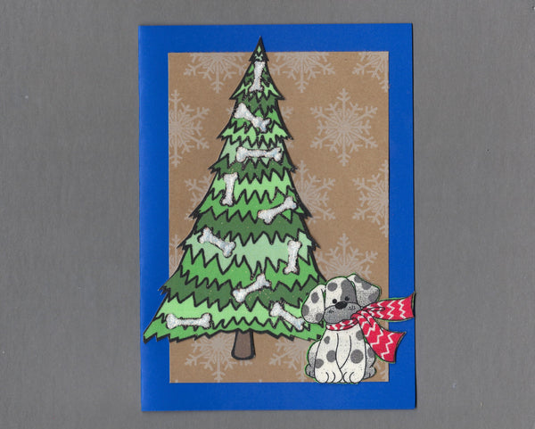 Handmade Fabric Bone Tree Scarf Dog Christmas Blank Greeting Card