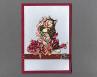 Handmade Fabric Brown Tabby Cat Playing in Wrapping Paper Blank Christmas Greeting Card