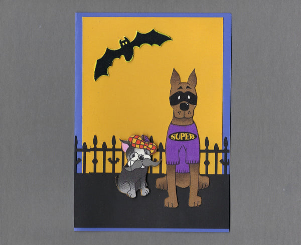 Handmade Fabric Halloween Buddies Gent and Superhero Dog Blank Greeting Card