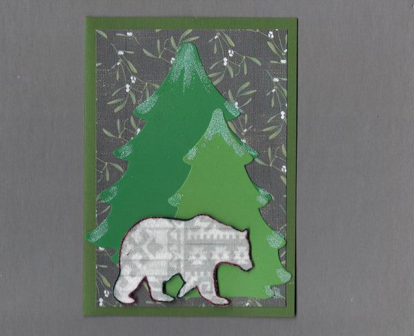 Handmade Flannel Fabric Bear In Woods Christmas Holiday Blank Greeting Card