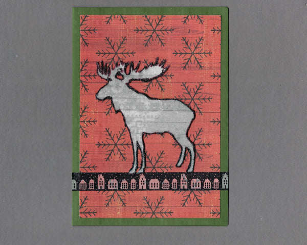 Handmade Flannel Fabric Bull Moose Christmas Holiday Blank Greeting Card