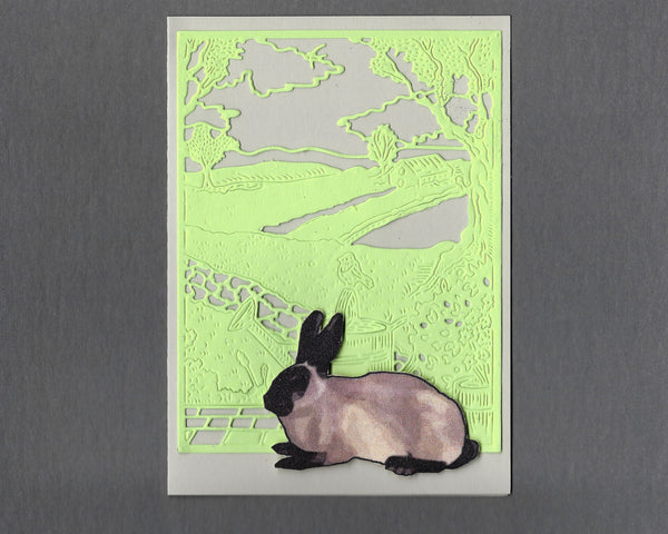 Handmade Fabric Siamese Colored Bunny Rabbit Blank Greeting Card