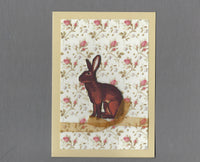 Handmade Fabric Red Jack Rabbit Bunny Blank Greeting Card
