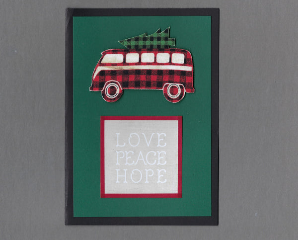 Handmade Fabric Buffalo Checked VW Bus Christmas Holiday Blank Greeting Card