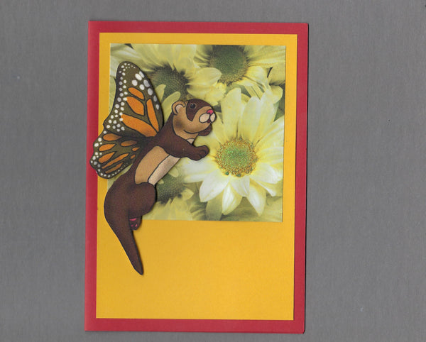 Handmade Fabric Butterfly Ferret Blank Greeting Card