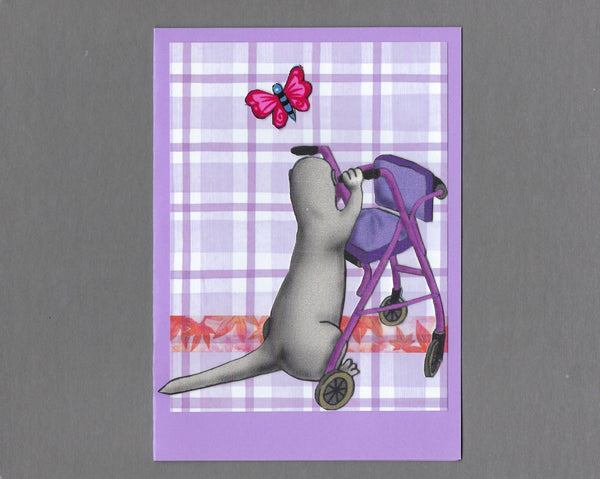 Handmade Fabric Butterfly Walker Ferret Blank Greeting Card