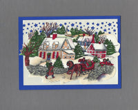 Handmade Fabric Winter Wonderland Blank Christmas Greeting Card