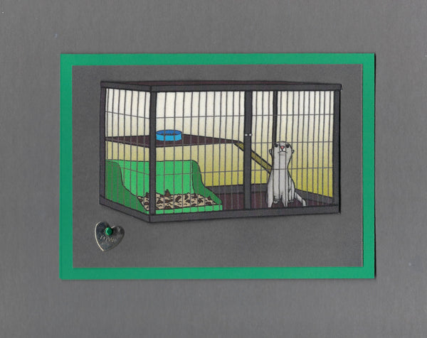 Handmade Fabric Cage Sitter Ferret Blank Greeting Card