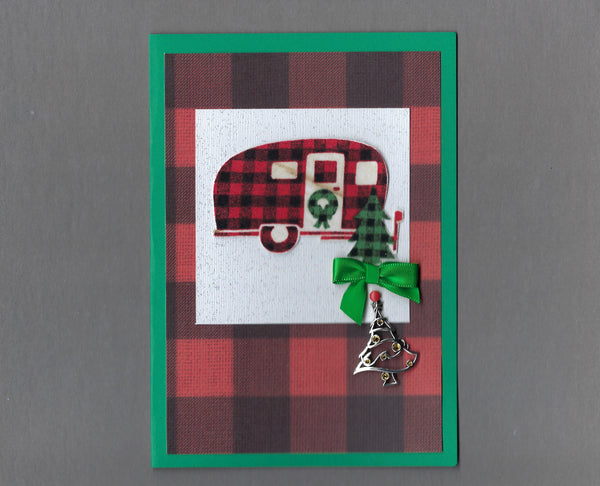 Handmade Fabric Buffalo Checked Camper Christmas Holiday Blank Greeting Card