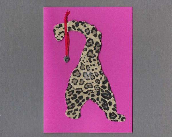 Handmade Fabric Cream Spotted Cat Butt Love Valentine's Day Blank Greeting Card