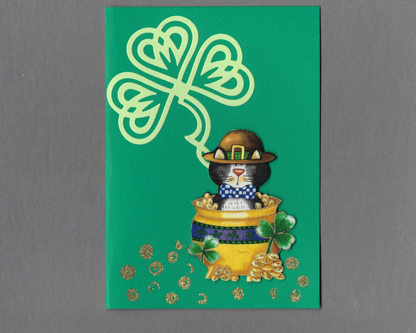 Handmade Fabric Cat in a Pot of Gold St. Patrick's Day Blank Greeting Card