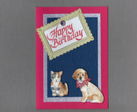 Handmade Fabric Friends Puppy Dog and Kitten Cat Happy Birthday Blank Greeting Card