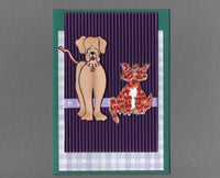 Handmade Fabric Friends Hound Dog and Orange Cat Blank Greeting Card