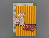 Handmade Fabric Friends Terrier Dog and Orange Cat Blank Greeting Card