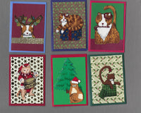 Handmade Fabric Primitive Cats Christmas Blank Gift Enclosure Set