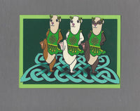 Handmade Fabric Celtic Dancing Ferret Blank Greeting Card