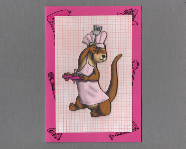 Handmade Fabric Chef Ferret Blank Greeting Card