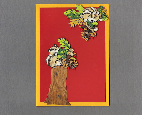 Handmade Fabric Silly Chipmunks with Tree Stump Blank Greeting Card