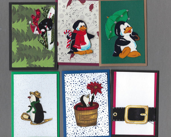 Handmade Fabric Cool Penguins Christmas Blank Gift Enclosure Set