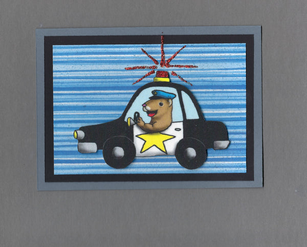 Handmade Fabric Cop Police Officer Ferret Blank Greeting Card