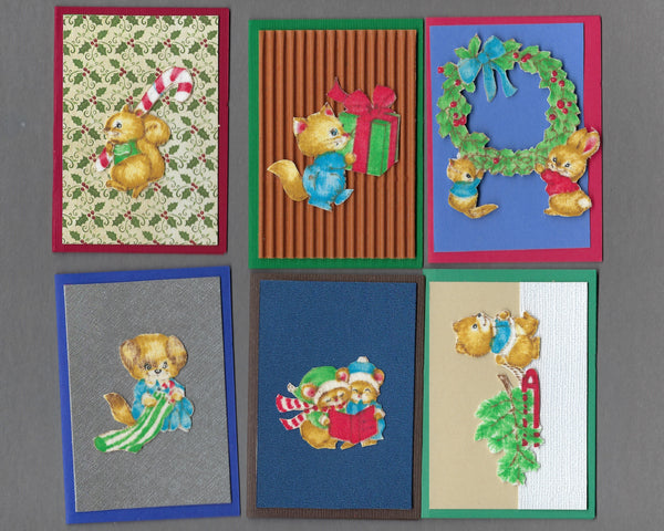 Handmade Fabric Cute Critters Christmas Blank Gift Enclosure Set