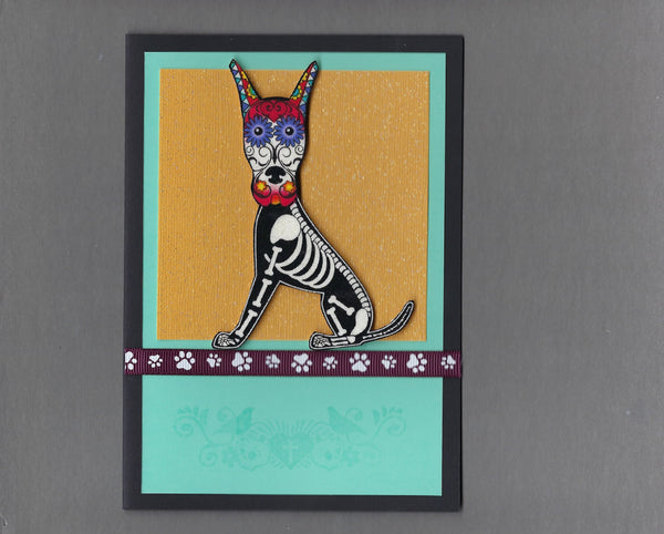 Handmade Fabric Day of the Dead Great Dane Dog Blank Greeting Card