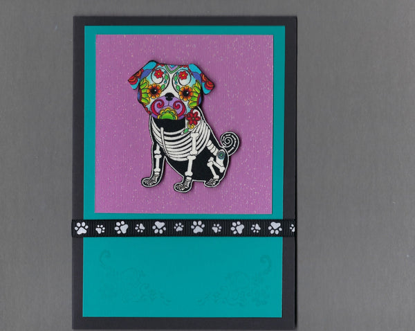 Handmade Fabric Day of the Dead Pug Dog Blank Greeting Card