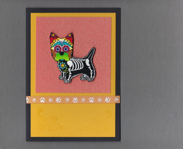 Handmade Fabric Day of the Dead West Highland Terrier Westie Dog Blank Greeting Card