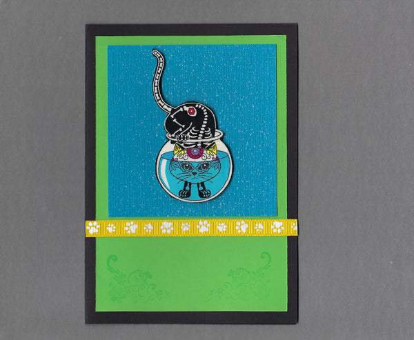 Handmade Fabric Day of the Dead Head First in the Fishbowl Cat Blank Greeting Card