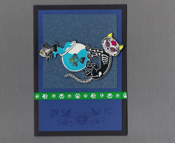 Handmade Fabric Day of the Dead Fish Leaping out of the Fishbowl Cat Blank Greeting Card