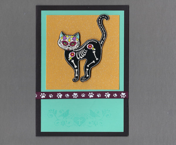 Handmade Fabric Day of the Dead Left Facing Scared Cat Blank Greeting Card