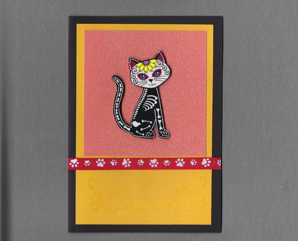 Handmade Fabric Day of the Dead Profile Cat Blank Greeting Card