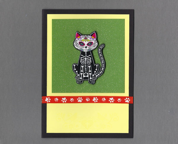 Handmade Fabric Day of the Dead Sitting Cat Blank Greeting Card