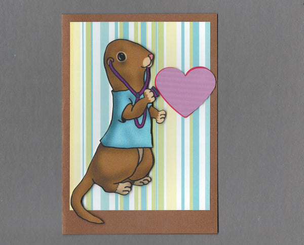Handmade Fabric Doctor Heartbeat Ferret Blank Greeting Card