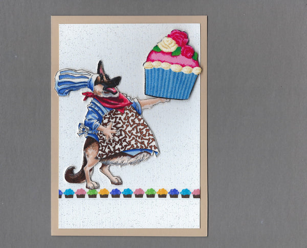 Handmade Fabric Dream Big Dogs German Shepherd Dog Blank Greeting Card