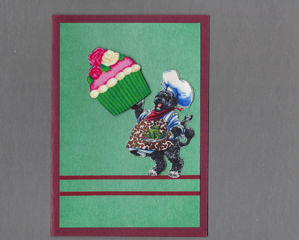 Handmade Fabric Dream Big Dogs Portuguese Water Dog Blank Greeting Card