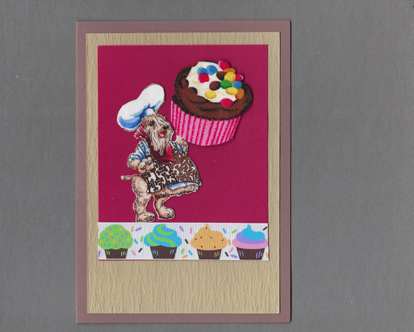 Handmade Fabric Dream Big Dogs Wheaten Terrier Dog Blank Greeting Card