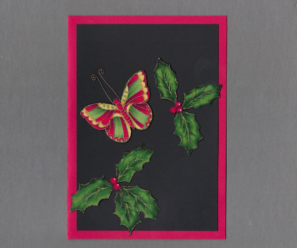 Handmade Fabric Elegant Butterfly Christmas Blank Greeting Card