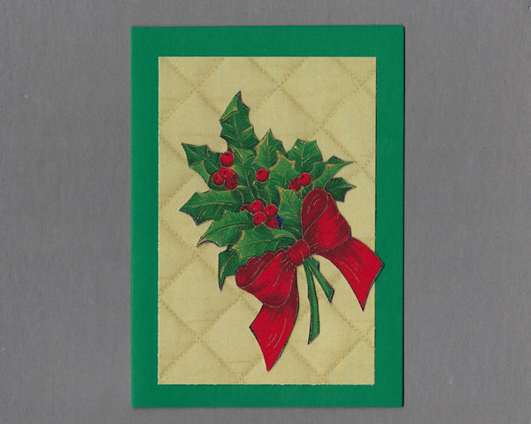 Handmade Fabric Elegant Holly Christmas Blank Greeting Card
