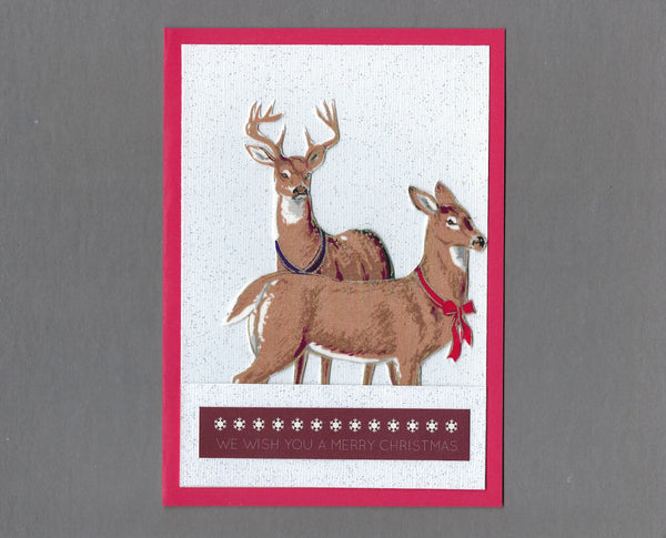 Handmade Fabric Elegant Buck and Doe Deer Christmas Blank Greeting Card