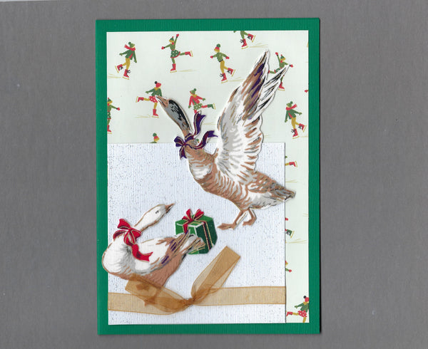 Handmade Fabric Elegant Geese on Pond Christmas Blank Greeting Card