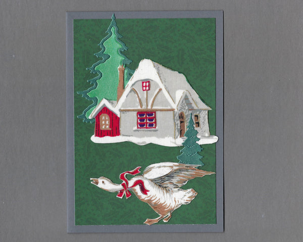 Handmade Fabric Elegant Goose and Cottage Christmas Blank Greeting Card