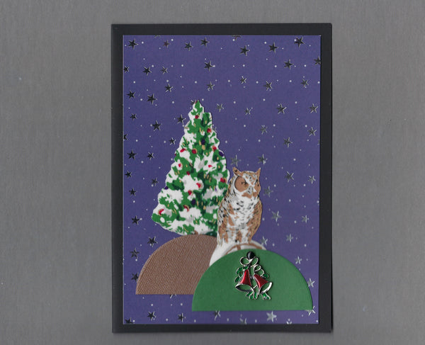 Handmade Fabric Elegant Owl Christmas Blank Greeting Card