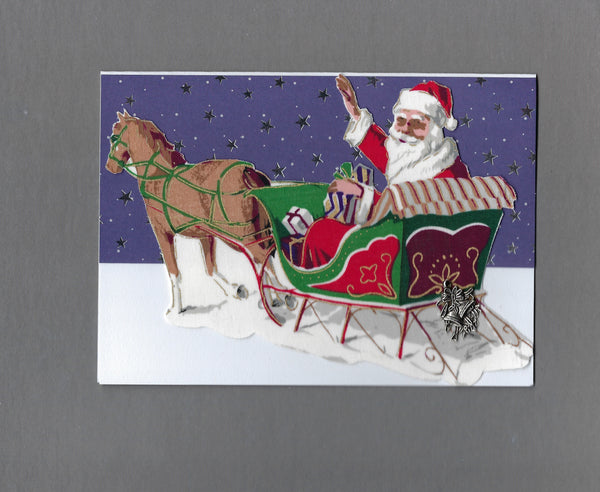 Handmade Fabric Elegant Santa in Horse Drawn Sleigh Christmas Blank Greeting Card