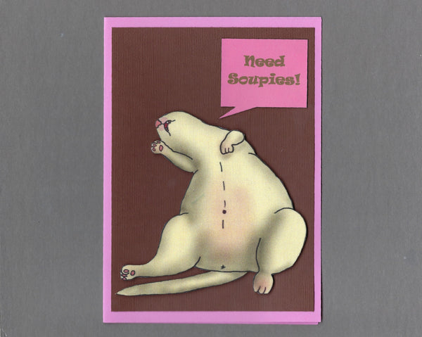 Handmade Fabric Fainting Ferret Blank Greeting Card