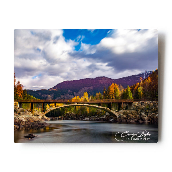 Fall Long Exposure at the famous Belton Bridge in Glacier National Park 8 X 10 Metal Print
